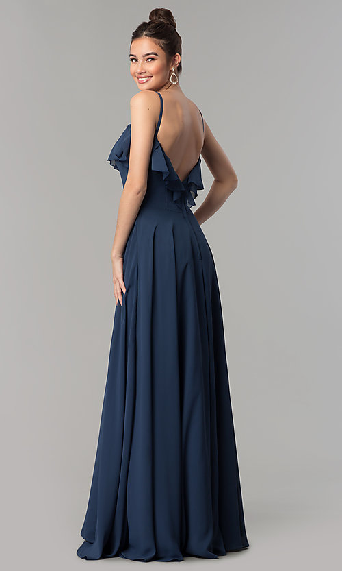 Image of v-neck long a-line chiffon prom dress with ruffle. Style: NM-18-585 Detail Image 2