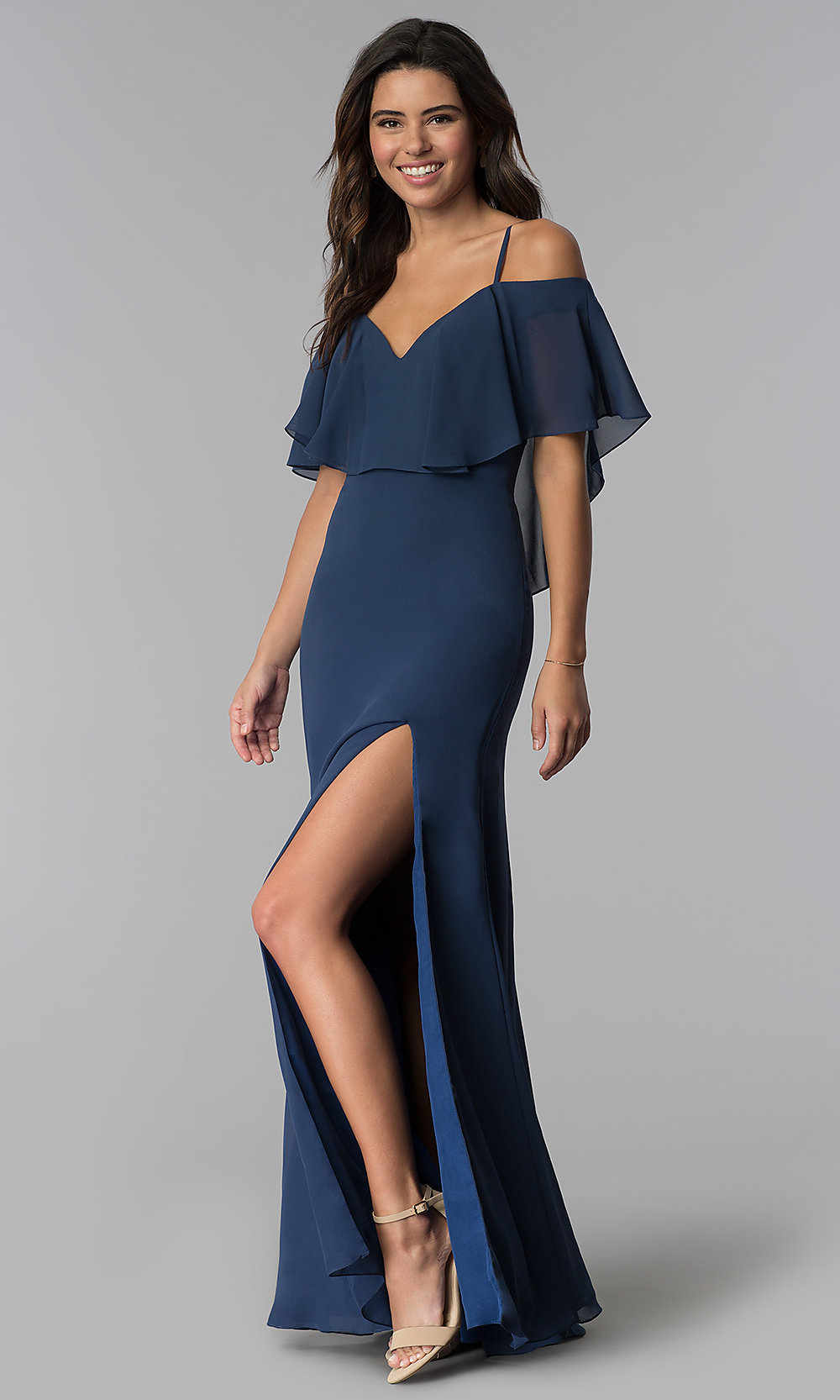 d5df7beafd Image of off-the-shoulder long bridesmaid dress with slit. Style: NM. Tap  to expand