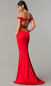 Image of long open-back off-the-shoulder prom dress. Style: ZG-31135 Front Image