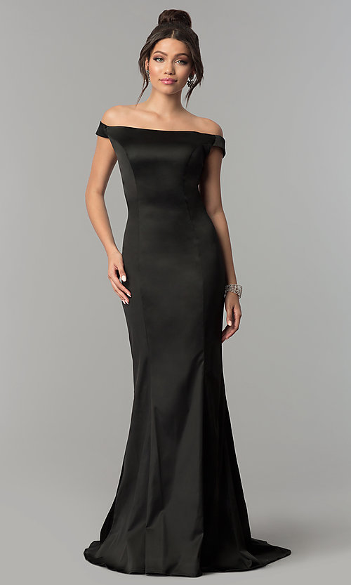 Image of long open-back off-the-shoulder prom dress. Style: ZG-31135 Detail Image 2