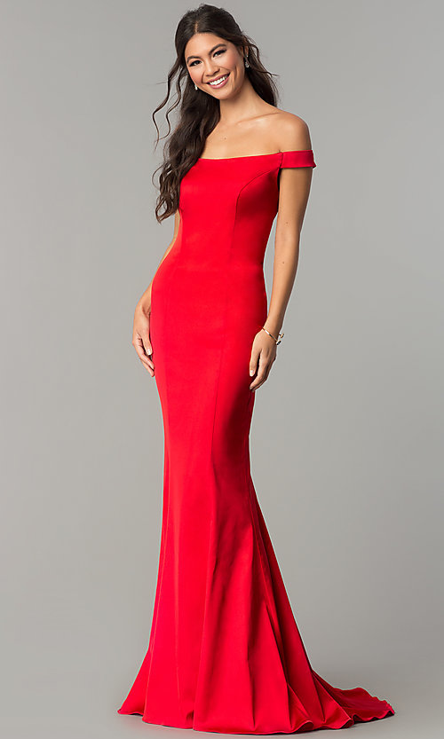 Image of long open-back off-the-shoulder prom dress. Style: ZG-31135 Back Image