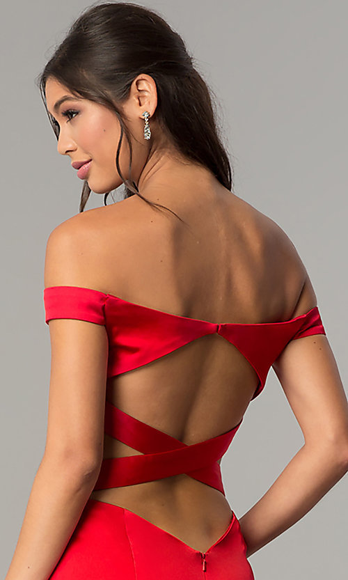 Image of long open-back off-the-shoulder prom dress. Style: ZG-31135 Detail Image 1
