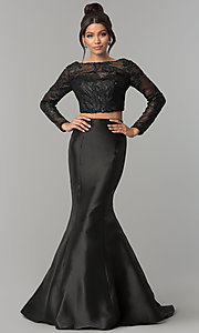 Long Two-Piece Prom Dress with Lace by Zoey Grey