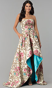 High-Low Print Strapless Prom Dress