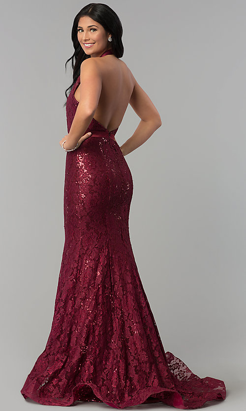 Image of long sequined-lace halter prom dress. Style: CD-1848 Back Image