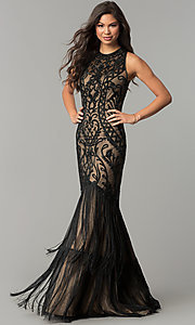 Long High-Neck Embroidered Prom Dress