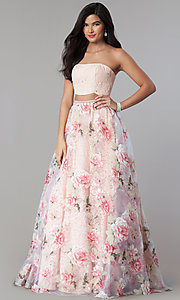 Long Strapless Print Two-Piece Prom Dress