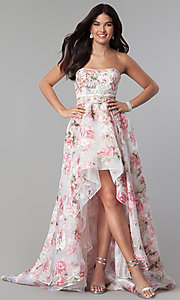 Strapless Print High-Low Prom Dress