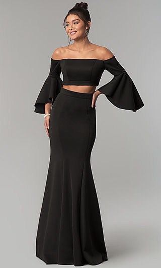 Long-Sleeved Two-Piece Long Prom Dress