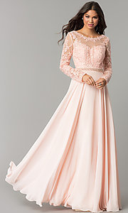 Image of long embroidered bateau-neck prom dress with sleeves. Style: CD-GL-G755 Front Image