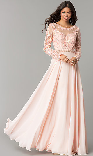 Long Embroidered Bateau-Neck Prom Dress with Sleeves