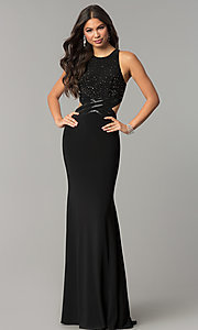 Image of long jersey mermaid prom dress with cut outs. Style: CD-GL-G764 Detail Image 3