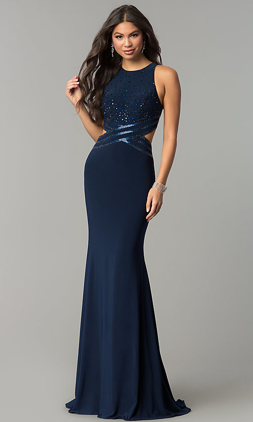 Image of long jersey mermaid prom dress with cut outs. Style: CD-GL-G764 Detail Image 2