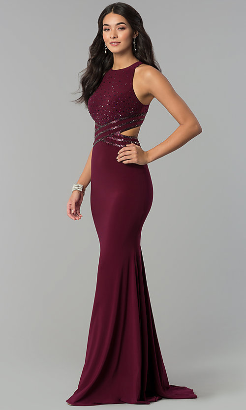 Image of long jersey mermaid prom dress with cut outs. Style: CD-GL-G764 Front Image