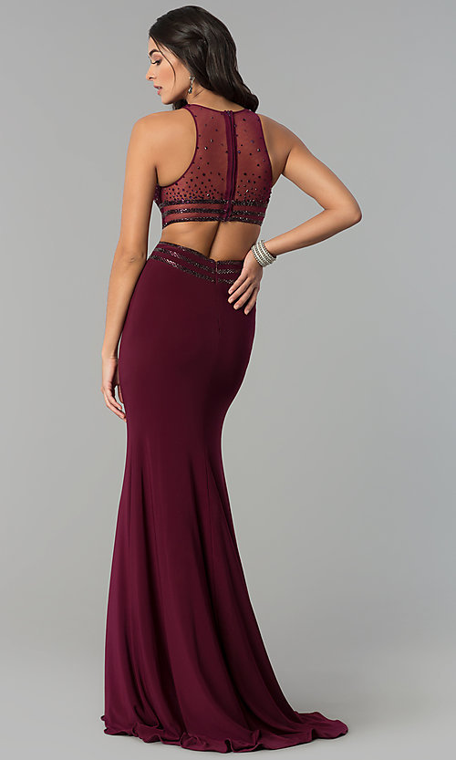 Image of long jersey mermaid prom dress with cut outs. Style: CD-GL-G764 Back Image