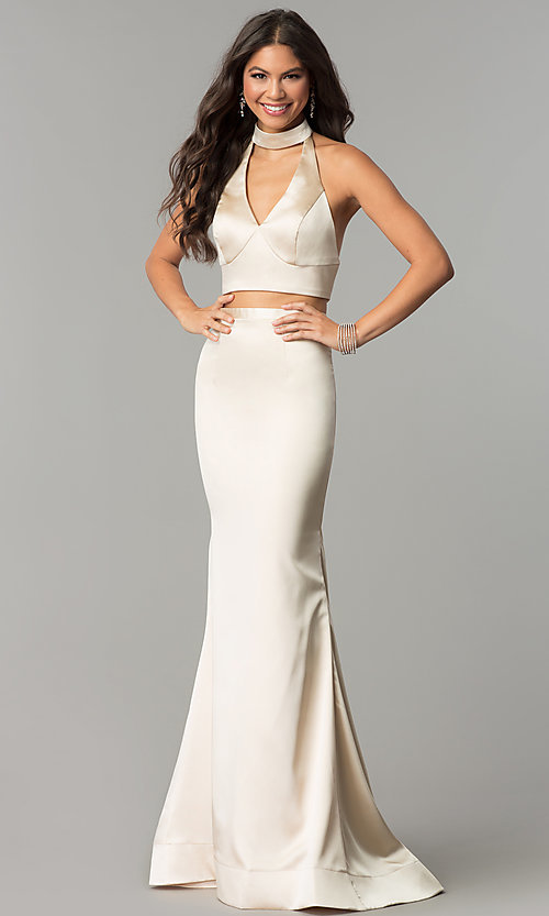 Image of long halter two-piece prom dress with v-neck cut out. Style: CD-GL-G770 Front Image