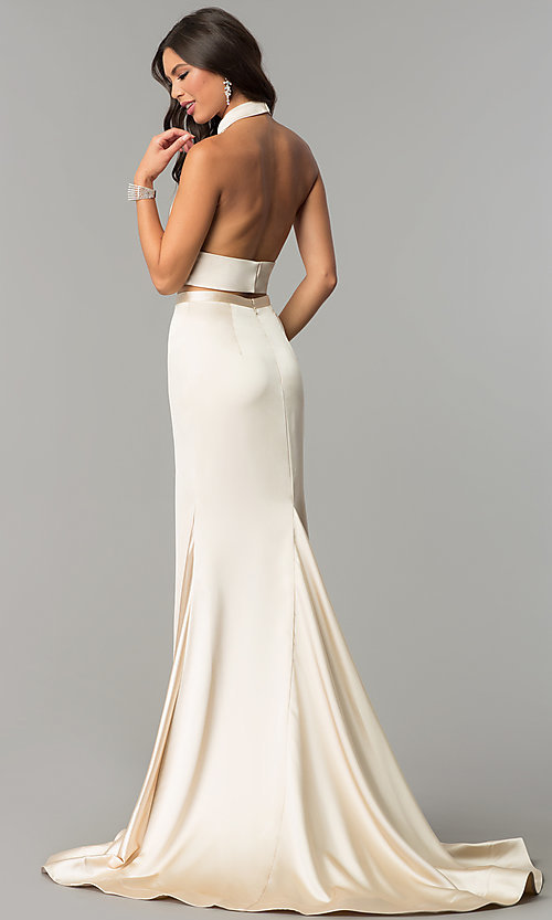 Image of long halter two-piece prom dress with v-neck cut out. Style: CD-GL-G770 Back Image