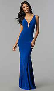 Image of long jersey mermaid prom dress with back cut outs. Style: CD-GL-G771 Front Image