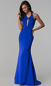 Image of long v-neck halter prom dress with cut outs. Style: CD-GL-G774 Front Image