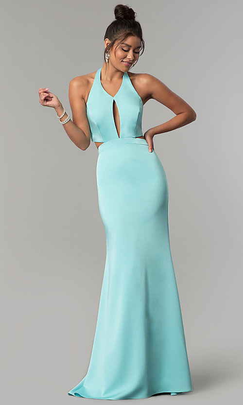 Image of long v-neck halter prom dress with cut outs. Style: CD-GL-G774 Detail Image 3