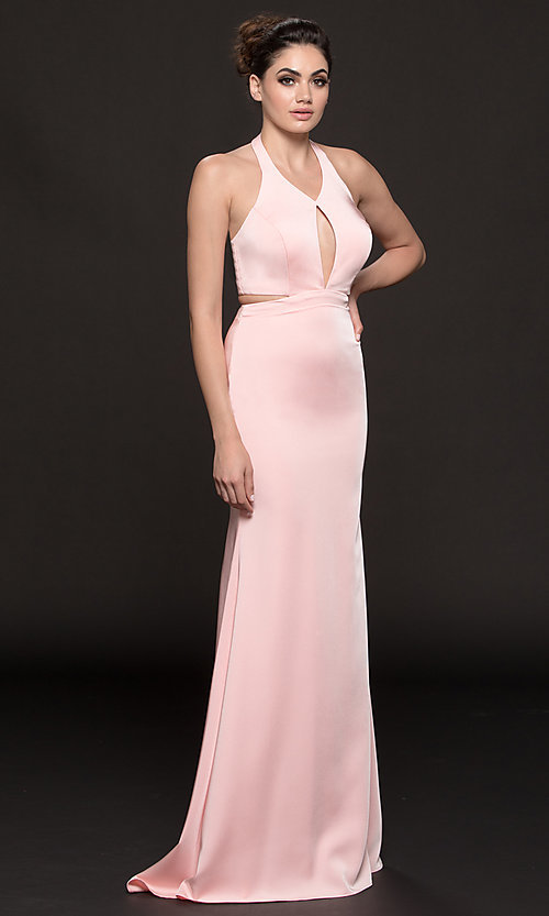 Image of long v-neck halter prom dress with cut outs. Style: CD-GL-G774 Detail Image 2