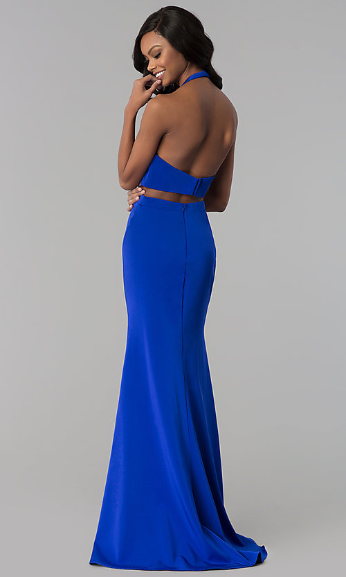 Image of long v-neck halter prom dress with cut outs. Style: CD-GL-G774 Back Image