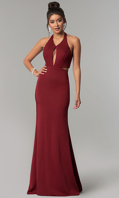 Image of long v-neck halter prom dress with cut outs. Style: CD-GL-G774 Detail Image 1