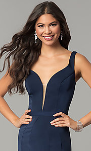 Image of low-v-neck evening dress with back cut out. Style: CD-GL-G776 Detail Image 1