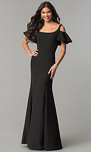 Flutter-Sleeve Cold-Shoulder Long Jersey Prom Dress