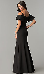 Image of flutter-sleeve cold-shoulder long jersey prom dress. Style: CD-GL-G777 Back Image