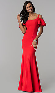 Image of flutter-sleeve cold-shoulder long jersey prom dress. Style: CD-GL-G777 Detail Image 1