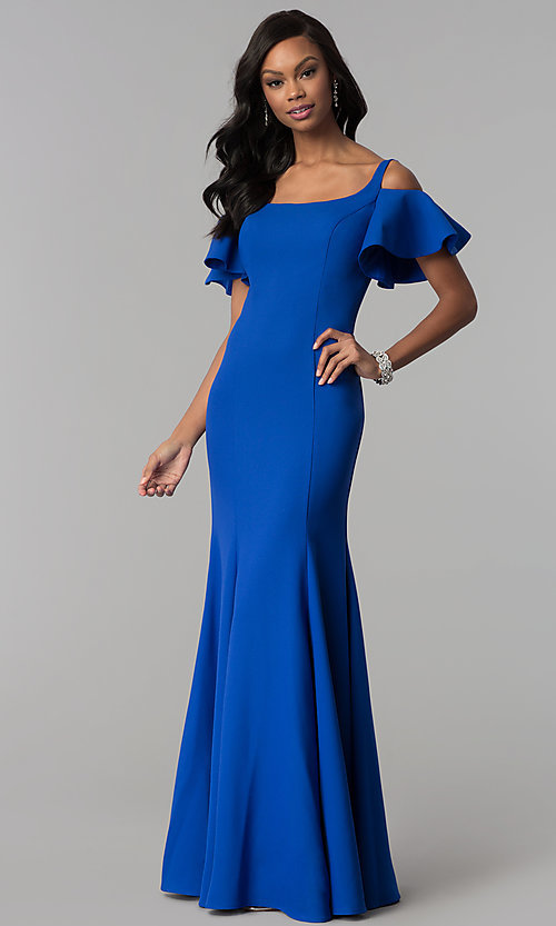 Image of flutter-sleeve cold-shoulder long jersey prom dress. Style: CD-GL-G777 Detail Image 2