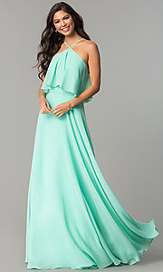 Image of long popover formal chiffon prom dress. Style: CD-GL-G778 Front Image