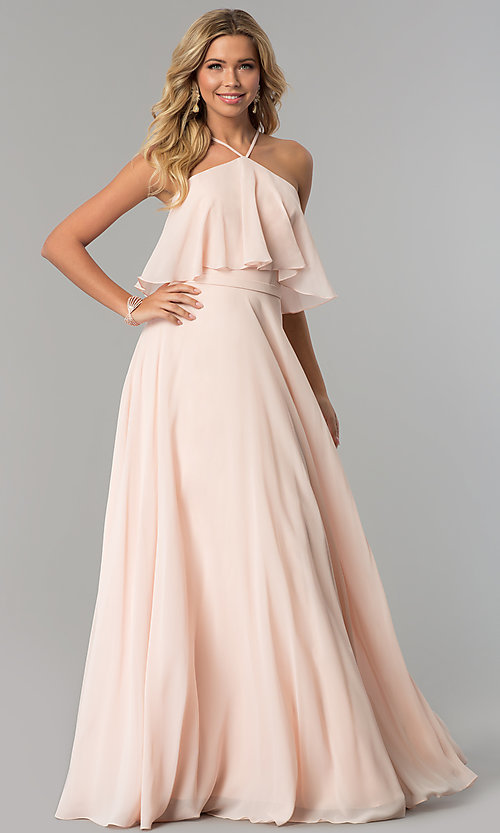 Image of long popover formal chiffon prom dress. Style: CD-GL-G778 Detail Image 1