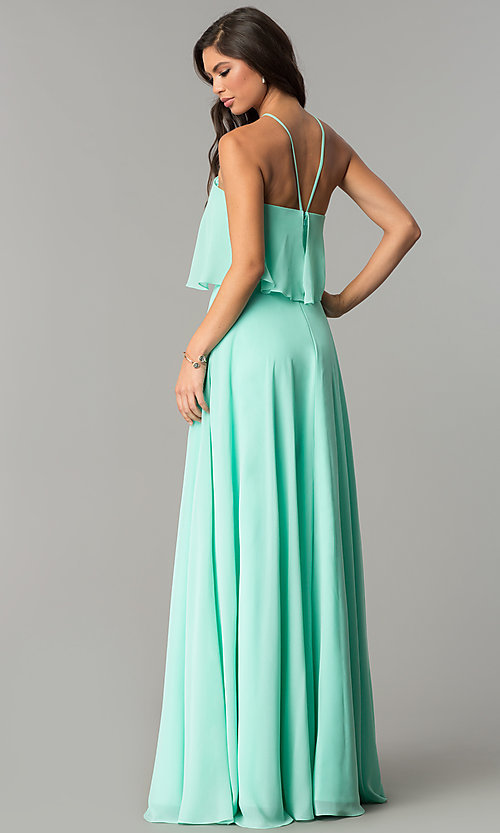 Image of long popover formal chiffon prom dress. Style: CD-GL-G778 Back Image