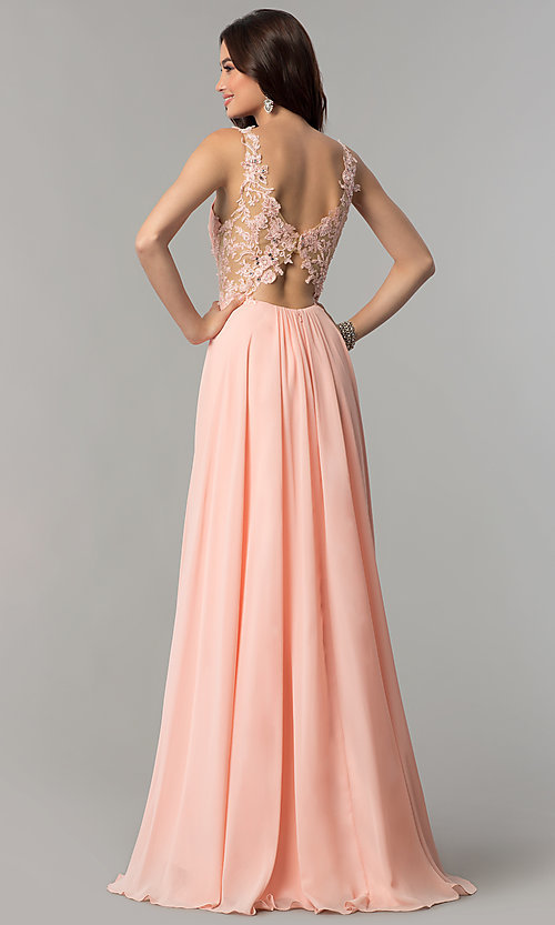 Image of long v-neck chiffon prom dress with embroidery. Style: CD-GL-G781 Back Image