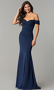 Image of off-the-shoulder prom dress with beaded embroidery.  Style: CD-GL-G786 Front Image