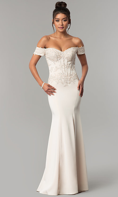 Image of off-the-shoulder prom dress with beaded embroidery.  Style: CD-GL-G786 Detail Image 1