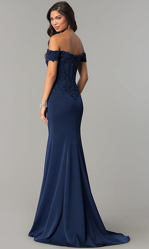 Image of off-the-shoulder prom dress with beaded embroidery.  Style: CD-GL-G786 Back Image