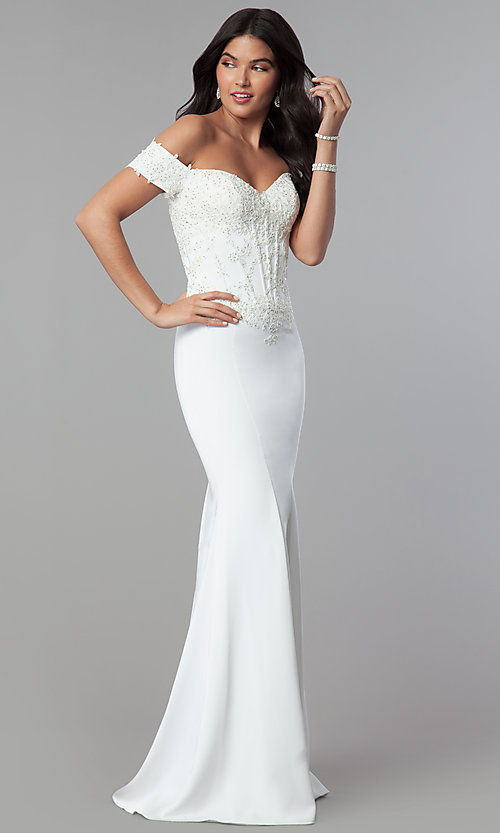 Image of off-the-shoulder prom dress with beaded embroidery.  Style: CD-GL-G786 Detail Image 2