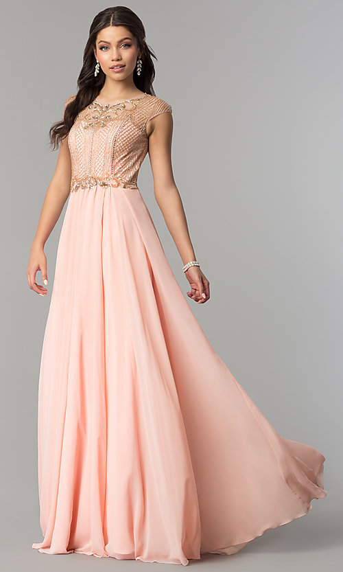 Image of long illusion-sweetheart prom dress with cap sleeves. Style: CD-GL-G790 Detail Image 1