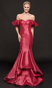 Image of off-the-shoulder princess-cut mermaid prom dress. Style: CD-GL-G793 Front Image