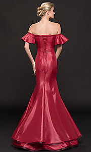 Image of off-the-shoulder princess-cut mermaid prom dress. Style: CD-GL-G793 Back Image