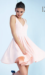 Image of sleeveless fit-and-flare party dress with v-neck. Style: MAC-48478i Detail Image 1