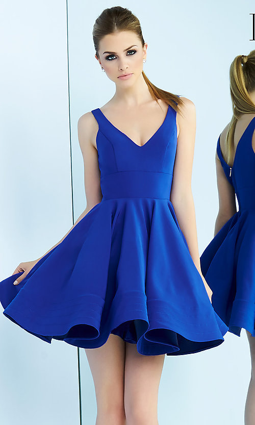 Image of sleeveless fit-and-flare party dress with v-neck. Style: MAC-48478i Detail Image 4