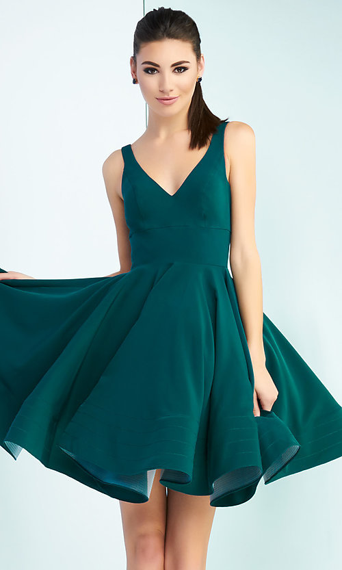 Image of sleeveless fit-and-flare party dress with v-neck. Style: MAC-48478i Detail Image 2