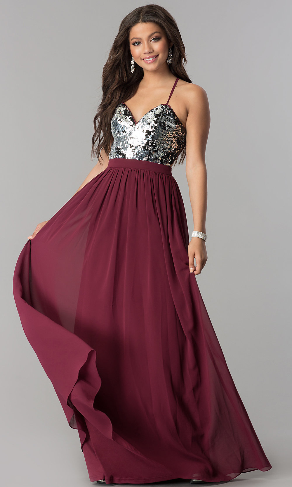 Burgundy Long Formal Prom Dress with Sequins -PromGirl