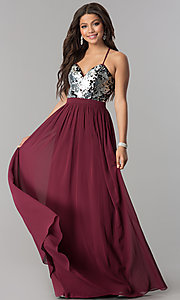 Image of silver sequin-bodice long burgundy red prom dress. Style: LP-24741 Front Image