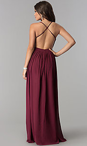 Image of silver sequin-bodice long burgundy red prom dress. Style: LP-24741 Back Image