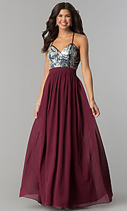 Image of silver sequin-bodice long burgundy red prom dress. Style: LP-24741 Detail Image 2